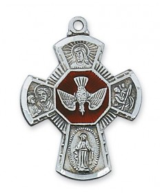"Sterling Silver with Red Enamel 4-Way Medal on 24"" Chain (1-1/4"" tall)"