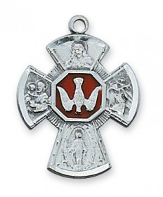 "Sterling Silver with Red Enamel 4-Way Medal on 18"" Chain (7/8"" tall)"