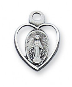 "Sterling Silver Miraculous Medal on 16"" Chain"