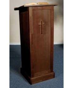 Silk-Screened Full Lectern with Shelf and Walnut Stain