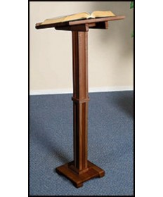 Silk-Screened Standing Lectern with Walnut Stain