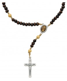 Brown Wood Beads Shroud of Turin Cord Rosary