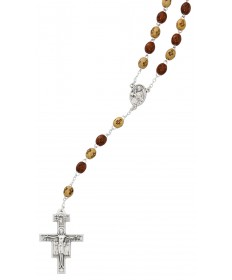 Olive Wood Beads Tau Rosary