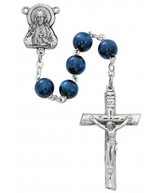 8 mm Blue Wood Beads Rosary