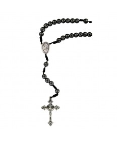 8 mm Hematite Beads St Michael Cord Rosary