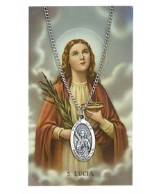 Saint Lucy Prayer Card and Pendant Set