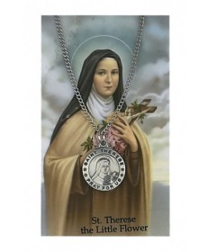 Saint Therese the Little Flower Prayer Card and Pendant Set