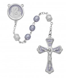 7mm Mother and Child Lavender Pearl Rosary