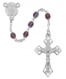 6 mm Amethyst Glass Beads Rosary