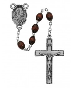 4 x 6 mm Brown Wood Bead Rosary