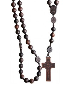 Jujube Wood 10 mm Rosary Dark Brown with Cross Center Beads