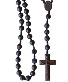 Jujube Wood 10 mm Rosary Dark Brown with Rose Center Beads
