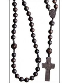Jujube Wood 10 mm Rosary Dark Brown with Round Center Beads