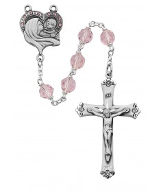 7mm Mother and Child Pink Rosary