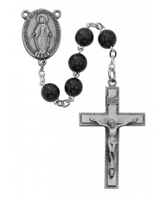 7 mm Black Wood Beads Rosary