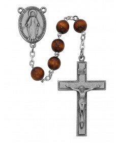 7 mm Brown Wood Beads Rosary