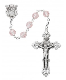 7 mm Pink Tin Cut Crystal Beads Rosary