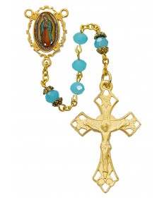 6 mm Aqua Glass Beads Guadalupe Rosary
