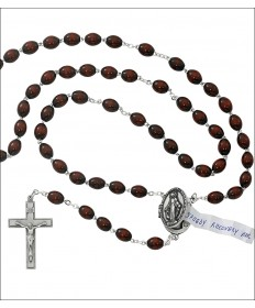 6 x 8mm Brown Wood Beads Prayer Petition Locket Rosary