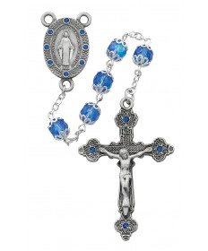 7 mm Blue Glass Beads Miraculous Rosary