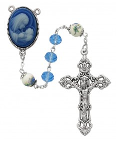 7 mm Blue Crystal Beads Cameo Rosary