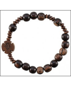 Jujube Wood Rosary Bracelet Medium Brown