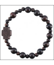 Jujube Wood Rosary Bracelet Dark Brown