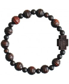 Jujube Wood 10mm Rosary Bracelet - Striped Cut