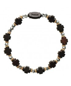 Jujube Wood Rosary Bracelet 8mm Dark Brown