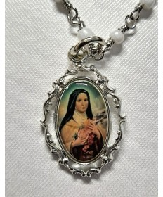 """Rhodium St Therese Medal on 18"""" Chain"""