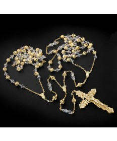 Lasso Wedding Rosary - Gold with Crystal Beads