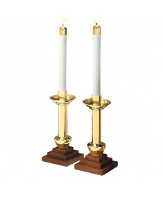 Altar Candlesticks Brass and Wood