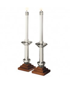 Altar Candlesticks Silverplate and Wood - Angel Line