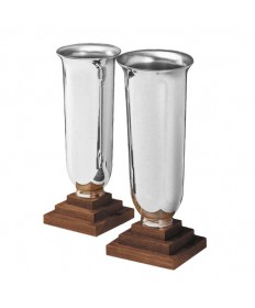 Altar Vases Silverplate and Wood - Angel Line