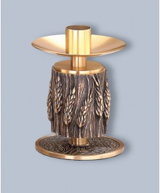 "Regal Altar Candlestick with 1.5"" Socket, Wheat Design, 6-1/4""H"