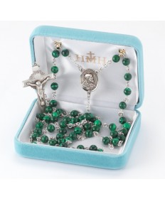 6 mm Malachite Beads Sterling Silver Rosary