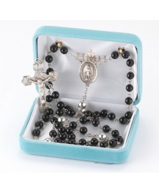6 mm Onyx Beads Sterling Silver Rosary