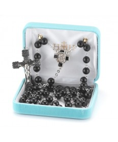 8 mm Onyx Beads Sterling Silver Rosary