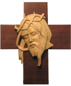 Hand Carved Head of Christ on Cross 12""