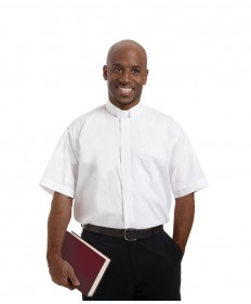 Clergy Shirt by Murphy - SS White with Tab Collar