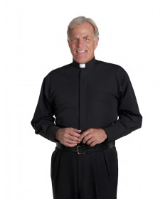 Clergy Shirt by Murphy - LS Black with Tab Collar - Extra Large