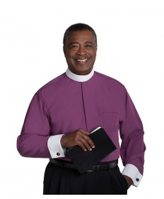 Clergy Shirt by Murphy - LS Purple with Band Collar & French Cuffs