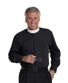 Clergy Shirt by Murphy - LS Black with Band Collar - Extra Large