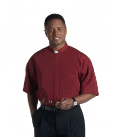 Clergy Shirt by Murphy - SS Burgundy with Tab Collar