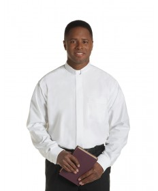 Clergy Shirt by Murphy - LS White with Tab Collar