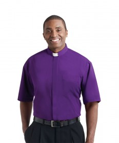 Clergy Shirt by Murphy - SS Church Purple with Tab Collar