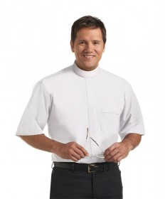 Clergy Shirt by Murphy - SS White with Band Collar