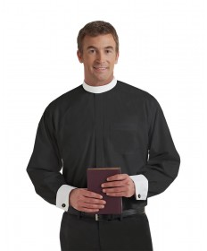 Clergy Shirt by Murphy - LS Black with Band Collar & French Cuffs - Extra Large