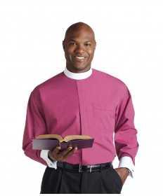 Clergy Shirt by Murphy - LS Rose with Band Collar & French Cuffs