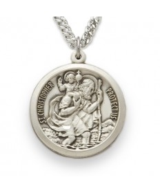 "Sterlinf Silver St Christopher Medal on 20"" Chain"